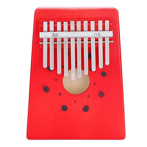 Dilwe 10 Key Thumb Klavier Kalimba, tragbare Finger Klavier Kiefer Holz Kalimba Mbira traditionelle Musikinstrument Geschenk für Kinder Freunde Musikliebhaber(Rot)