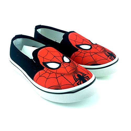 Marvel Spiderman-Kindersegeltuchschuhe Avengers Ohne Saiten. Schwarz (Größen 26 bis 33) (28 EU)