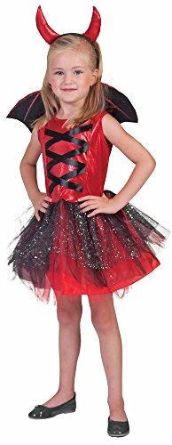 Teufelin Xenia Kostüm für Mädchen 3-tlg. 8-12 Jahre - Wunderschönes Teufel Kostüm für Halloween, Karneval oder Mottoparty (Drei Mädchen Halloween Kostüme)