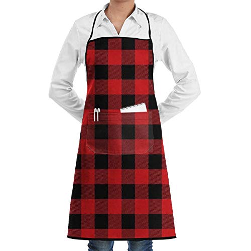 Red Plaid Square Grill Aprons Kitchen Chef Bib - Professional for BBQ Baking Cooking for Men Women Pockets red apron