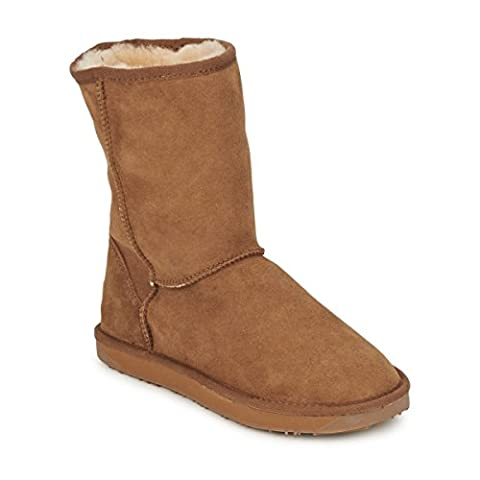 JUST SHEEPSKIN womens SHORT CLASSIC Chestnut Mid boots 5