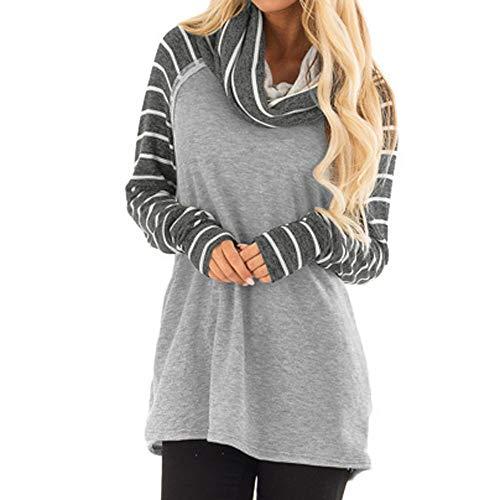 Hanomes Damen Herbst Mode Streifen Wasserfallausschnitt Sweatshirt Pullover Slim Fit Langarm Pullover Casual Bluse (Front Zip Blazer)