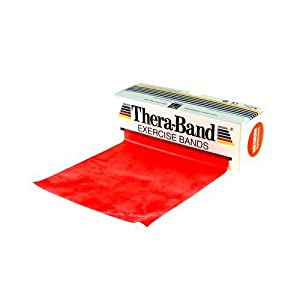 TheraBand Resistance Bands, 5.5 m Roll Professional Latex Elastic Band For Upper Body, Lower Body, & Core Exercise, Physical Therapy, Pilates, At-Home Workouts, & Rehab, Red, Medium, Beginner Level 3