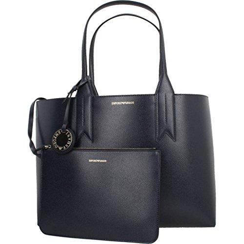 Emporio Armani Logo Shopping Donna Handbag Blu 88293 BLU NOTTE/NERO Tienda De Espacio Libre Para La Venta Gran Venta Bonito xfo230Zb