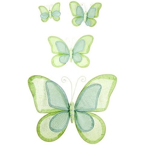 Set di quattro farfalle di colore verde in lino da appendere al muro Arte da muro - Arte Seta Tende