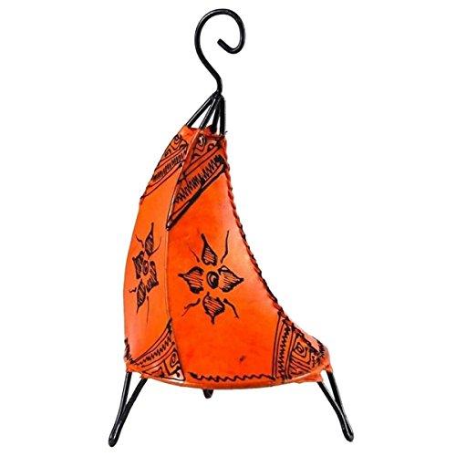 Stile orientale in pelle lampada Henna lampada da tavolo Henna tissir Orient Muster arancione