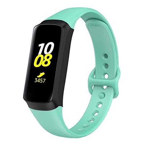 Glowjoy Armband für Samsung Galaxy fit,Weich Silikon Ersatzband Fitness Sport Armbänder Damen Herren Langlebig Silikonband Sportarmband Verstellbares Uhrenarmband für Sport Reise (Mint Green) - Bänder Herren-erweiterbar-uhr
