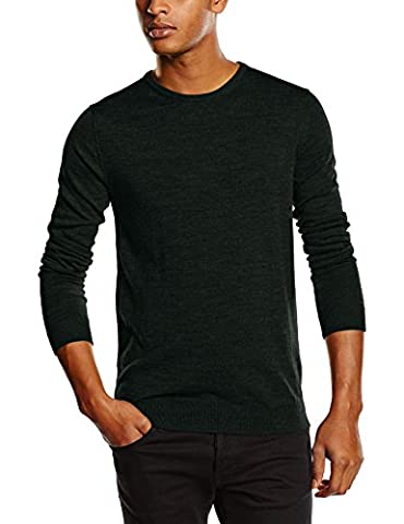 SELECTED HOMME Men's Shdtower Merino Crew Neck Noos Jumper, Green (Dark Green), Medium