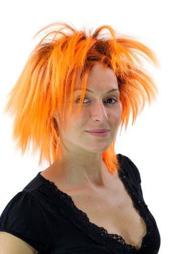 Perruque noire/orange, style Punk, 80's, glamour, idéal pour Carneval PW0078-P103PC24(A422)