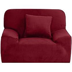 sourcingmap® - Copridivano elasticizzato, forma adattabile, antiscivolo, arredo elegante, morbido e leggero, dimensioni: 139,7 - 190,5cm Chair-1seater Burgundy