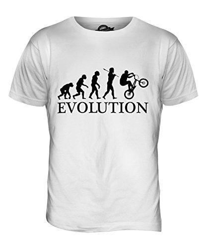 CandyMix Bmx Evoluzione Umana T-Shirt da Uomo Maglietta Bianco