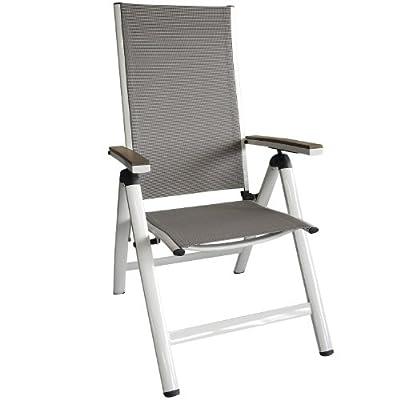 Eleganter Aluminium Hochlehner Positionsstuhl Gartenstuhl Liegestuhl Rückenlehne 5-Positionen verstellbar mit Polywood / Non-Wood - Armlehnen und 2x2 Textilenbespannung klappbar