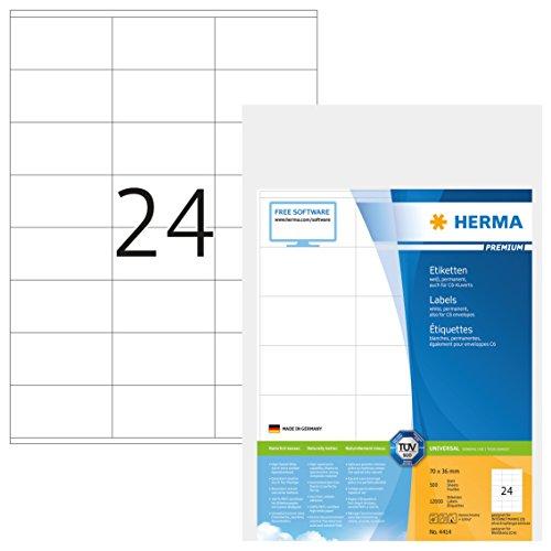 Herma 4414 Universal Etiketten (70 x 36 mm) weiß, 12.000 Adressaufkleber, 500 Blatt DIN A4 Premium...