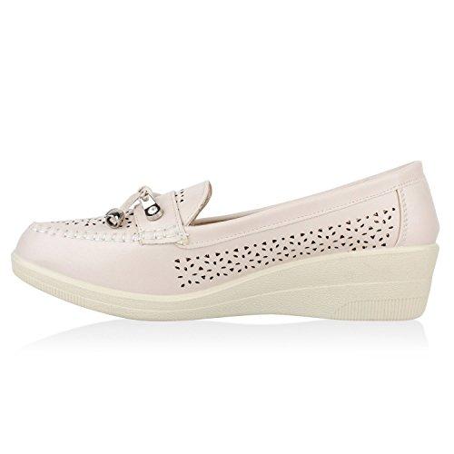 Damen Komfort Schuhe Perlen Pumps Schleifen Keilpumps Slipper Creme Berkley