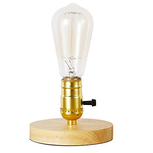 INJUICY Vendimia E27 Edison Madera Lámpara de Escritorio Antiguo Lámpara de Mesa de Luz del Escritorio...