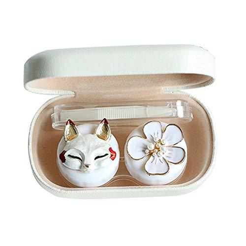 Vi.yo Mini Harte Schale Kontaktlinsenbehälter Nette Tier Kunststoff kosmetische Brillenetuis Kit Kasten mit Spiegel Tweezer & Objektiv-Stick für Reisen oder Daily Care - 9.5 * 5.5 * 2.5cm Weiß