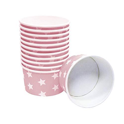 Frau WUNDERVoll® 60 Stück Pappschalen/Eisbecher/Einwegschalen ROSA MIT WEISSEN Sternen, für ca. 3-4 Kugeln EIS