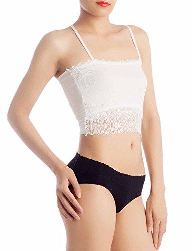 iB-iP Damen Baumwolle Gemischt Racerbac Bauchfreies Top Unterhemd Tank Dessous Weiß