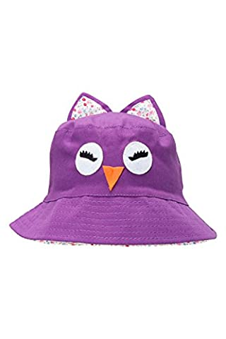 Mountain Warehouse Owl Kids Bucket Hat - 100% Cotton, Lightweight, Breathable, Natural Fibres with Easy Care & Wide Brim - Ideal for Kids Whilst They Play Outside Purple Small /