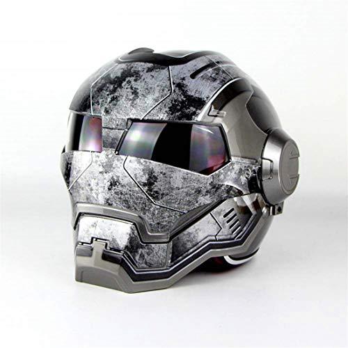 TLPSB Erwachsener Motorradhelm Vollgesichtshelm/Flip Offener Fronthelm/D.O.T Zertifiziert Iron Man Rockstar Hellgrau (M, L, XL, XXL),L57~58cm