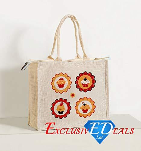 Große Jute-tote (Jute Einkaufstasche Sackleinen Große & Kleine Eco Wiederverwendbare Geschenk Tote Lunch Handtasche-34cm (H) X 41cm (W))