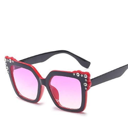 GJYANJING Sonnenbrille Damen Diamant Kristall Rosa Sonnenbrille Für Frauen Großen Rahmen Sqaure BrillenEyewear Shades Uv400