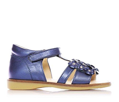 FLORENS - Sandalo blu in pelle, con chiusura a strappo, decorata con simpatici fiorellini in tinta di pelle, cuciture in vista, Bambina, Ragazza-24