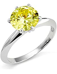 Bling Jewelry Sterling Silver 3.5ct Simulated Canary CZ Solitaire Engagement Ring