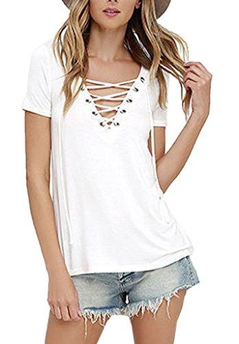 Smile YKK Chemisier Blouse Femme T-shirt Coton Top Manche Courte Sexy Col V Eté Chic Blanc