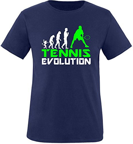 EZYshirt® Tennis Evolution Herren Rundhals T-Shirt Navy/Weiss/Neongr