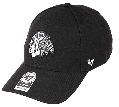 47Brand Chicago Blackhawks Adjustable Cap MVP Snapback NHL Black/White - One-Size