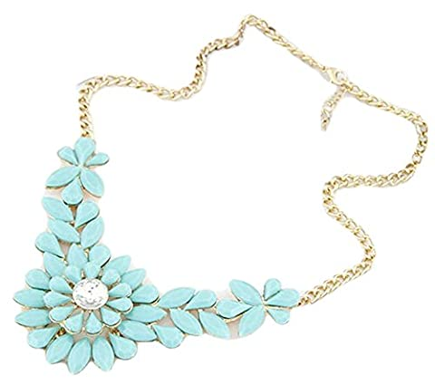 SaySure - Rhinestone Flower Resin Necklace Pendant Charm Jewelry