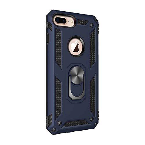 Layer-hybrid Fall (iPhone 8 Plus Hülle, iPhone 7 Plus Handyhülle mit Ring Ständer 360 Grad Drehbarer Ring Halter 2 in 1 Dual Layer Hybrid Armor Stoßfest Anti-Kratzer Schutzhülle (iPhone 7 Plus / 8 Plus, Blau))