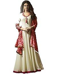 Style Amaze Women's Cream Colored Embroidered Lehenga Style Anarkali Suit