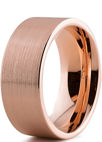 Tungsten Wedding Band Ring 9mm for Men Women Comfort Fit 18K Rose Gold Plated Pipe Cut Flat Brushed Polished Lifetime Guarantee Size 11,5