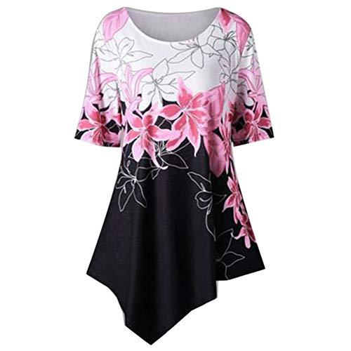 Kuizhiren1 - Camiseta de Manga Corta con Cuello Redondo y Estampado de Flores para Mujer, Camiseta, Rosa, X-Large