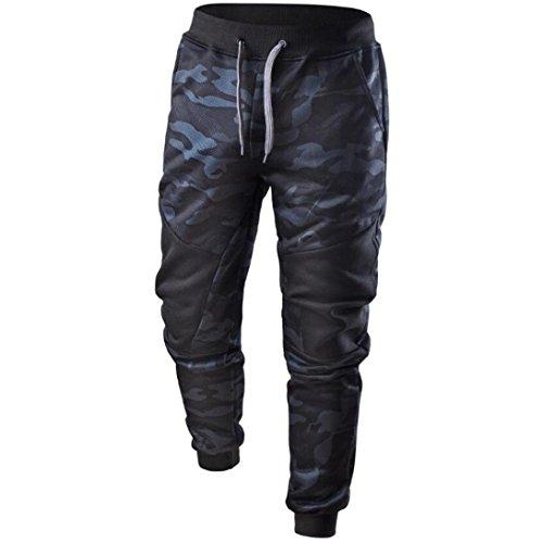 KEERADS Camouflage Hose Herren Sweatpants Camo Jogginghose Herren Camouflage Fitness Hosen Sporthose Lang (S(Etikettengröße L), Camouflage Blau) (Herren Camo Blau)