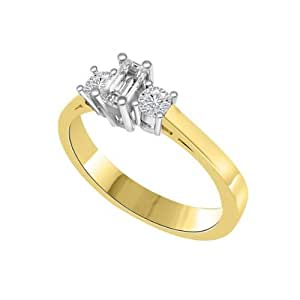 0.60ct G/SI1 Diamond Trilogy Promise Ring for Women with Round Brilliant cut diamonds in 18ct White Gold & Yellow Gold
