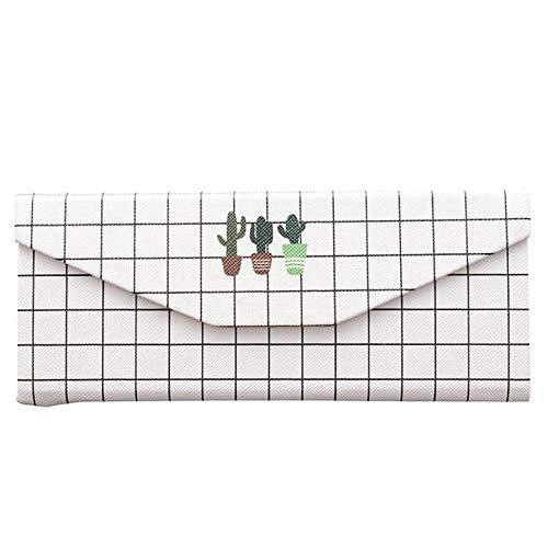 PU Leder Faltbare Eyegbrillen Case, Anti-Druck Portable Hard Triangle Black und White Square Line Sonnenbrille Box mit Magnetic Clasp für Frauen
