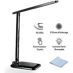 Lampe de Bureau LED, TOPELEK 42 LED Lampe de Chevet Tactile Flexible 5V Adaptateur Chargeur 3 Modes de Couleur 3 Niveaux de Luminosité Soin des Yeux Lampe de Table pour Travail, Lecture - Noir
