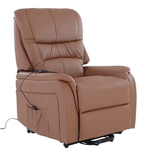 colourliving Fernsehsessel mit Aufstehhilfe elektrisch Relaxsessel mit 2 Motoren aus Kunstleder in Hellbraun