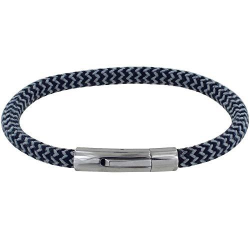 Schmuck Les Poulettes - Herren Armband Runder Polyamid Chevron - Blau Navy