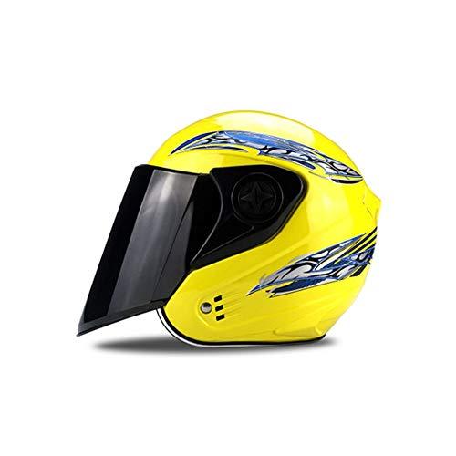LXFDS Motorrad reithelm, elektrofahrzeug Sicherheit halb Helm, mehrfarbige optional halb Abdeckung, atmungsaktive Helm, motorradhelm, fahrradhelm,-Yellow