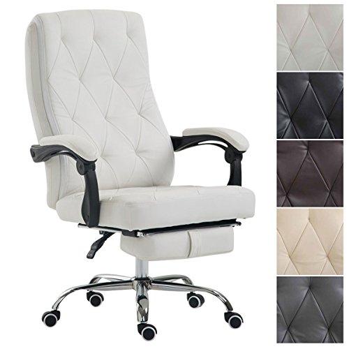 Clp sedia ufficio gear in similpelle - poltrona ufficio alto schienale e poggiapiedi - sedia scrivania regolabile con braccioli e rotelle, carico max 136kg bianco
