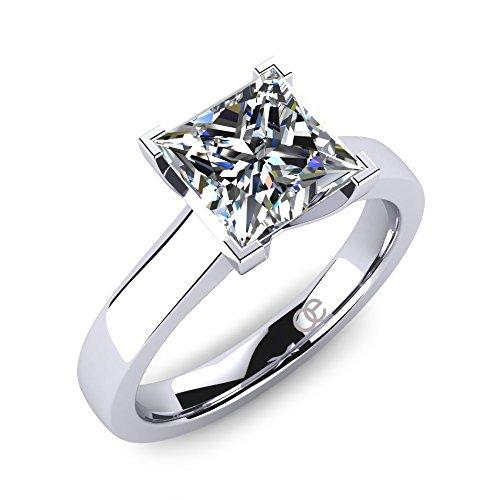 Moncoeur Ring Tenderesse + Verlobungring mit Zirkonia im Prinzess-Schliff + echter 925 Sterling Silberring + perfekter Steinschliff + der Schlüssel Ihrer Liebe + wunderschönes Geschenk für Damen (56 (17.8))