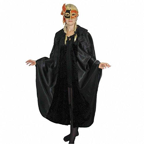 Krause & Sohn Umhang Kostüm Maskenball Venedig Fasching Karneval Cape Mantel Einhgr. (Schwarz)