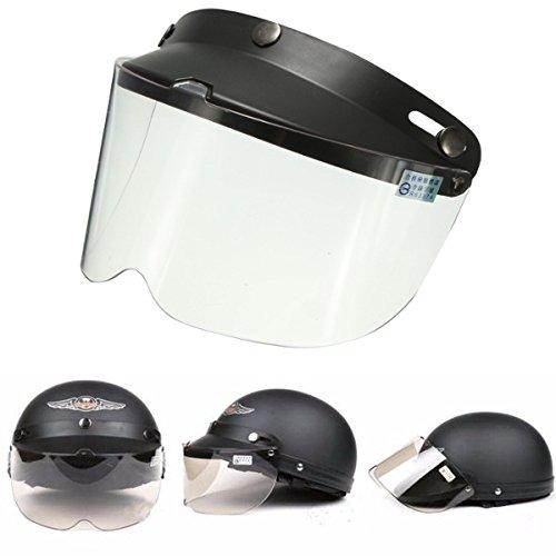 Alamor Universal Moto Casco Flip Up Visera Modelo Transparente Botón De Viento...