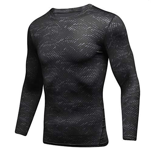 DNOQN Männer T Shirt Slim Fit T Shirts Sportbekleidung Herren Herren Sport Laufen Langärmelig Fitness Schweiß Atmungsaktiv Schnell trocken Sport Fest M