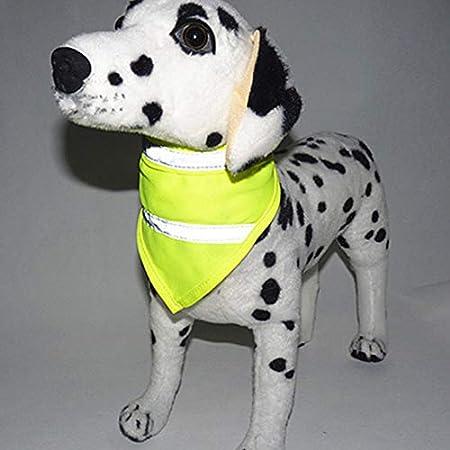 Hemore Reflektierendes Hunde-Halstuch, bequem, dreieckig, mit weißen reflektierenden Streifen, Gelb, Größe S