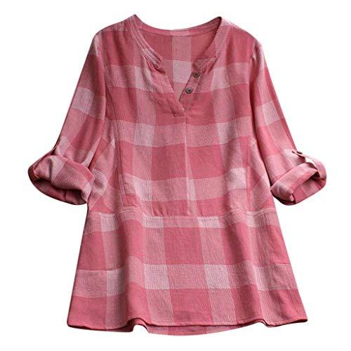 VEMOW Sommer Herbst Elegante Damen Plus Größe Dot Print Lose Baumwolle Casual Täglichen Party Strandurlaub Kurzarm Shirt Vintage Bluse...